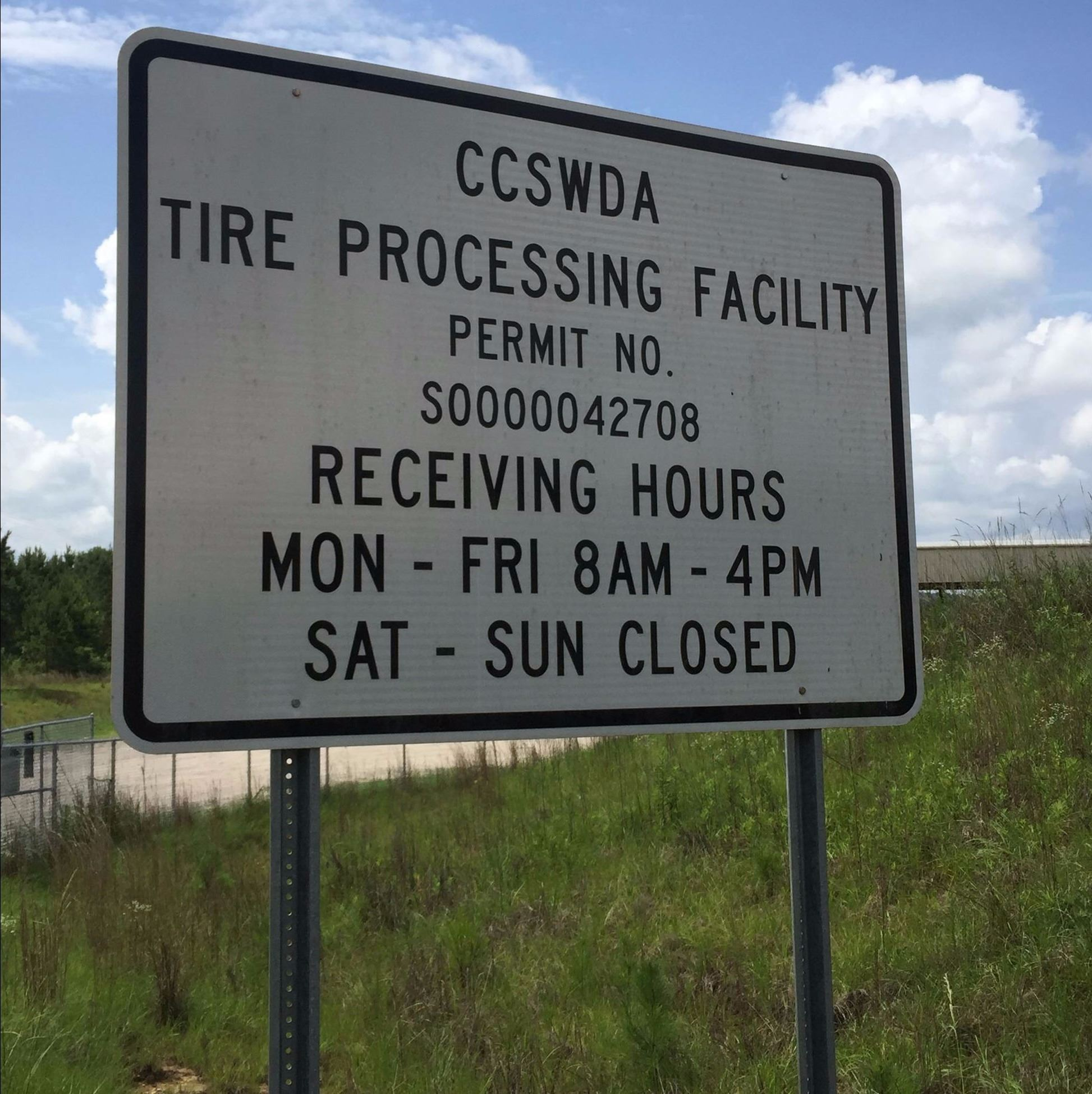 Tire Recycling Center Sign